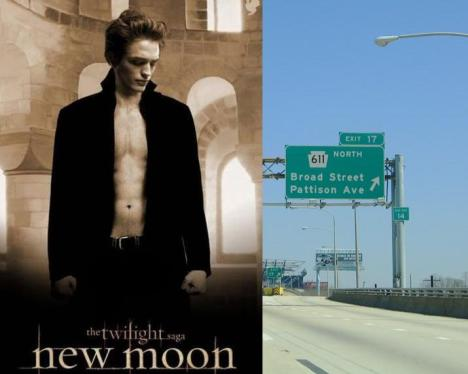 L: A delicious poster of Robert Pattinson advertising the second installment of the Twilight series | R: A picture of Pattison Ave in South Philadelphia