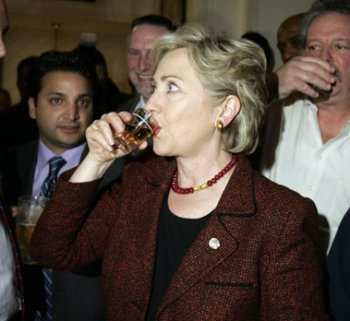 Then candidate Clinton trying to convince voters she likes whiskey.