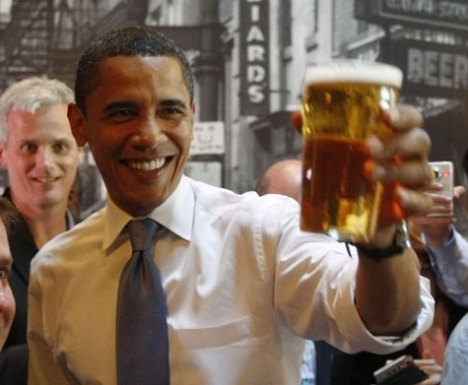 Then candidate Obama trying to convince voters he likes beer.